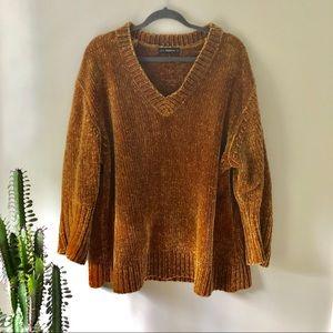 Zara Sweaters - Zara Mustard Chenille V-Neck Sweater